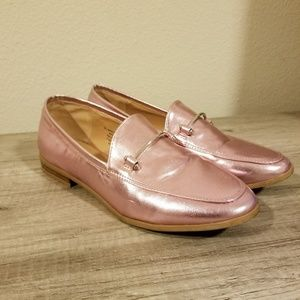 Metallic Pink Rose Gold Loafers